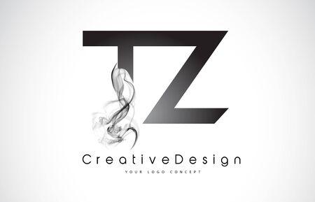 TZ Letter Logo Design with Black Smoke. Creative Modern Smoke Letters Vector Icon Logo Illustration.