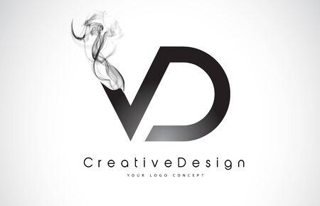 VD Letter Logo Design with Black Smoke. Creative Modern Smoke Letters Vector Icon Logo Illustration. Logó