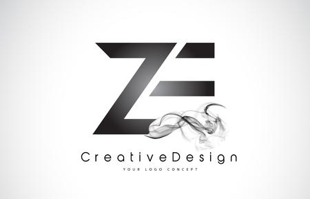 ZE Letter Logo Design mit schwarzem Rauch. Kreative moderne Rauchbuchstaben-Vektor-Symbol-Logo-Illustration. Logo