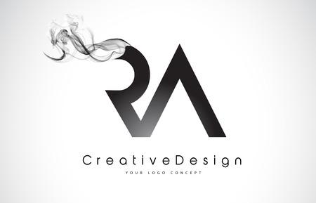 RA Letter Logo Design met zwarte rook. Creatief Modern Rookbrieven Vectorpictogram Logo Illustration.