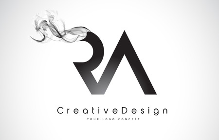 RA Letter Logo Design with Black Smoke. Creative Modern Smoke Letters Vector Icon Logo Illustration.