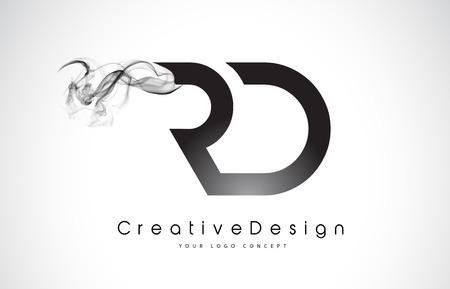 RD Letter Logo Design with Black Smoke. Creative Modern Smoke Letters Vector Icon Logo Illustration. Logó