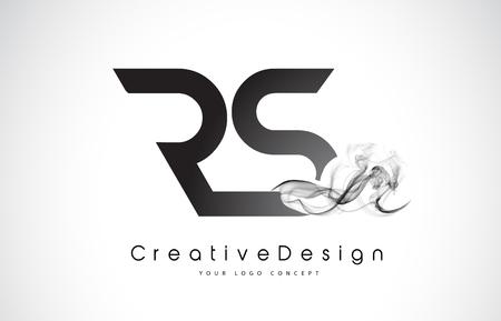 RS Letter Logo Design with Black Smoke. Creative Modern Smoke Letters Vector Icon Logo Illustration.