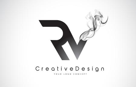 RV Letter Logo Design with Black Smoke. Creative Modern Smoke Letters Vector Icon Logo Illustration.