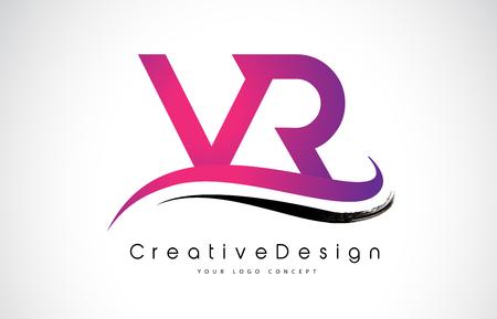 VR V R Letter Logo Design in Black Colors. Creative Modern Letters Vector Icon Logo Illustration.