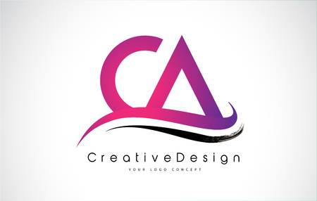 CA Letter Logo Design in Black Colors. Creative Modern Letters Vector Icon Logo Illustration. Ilustração