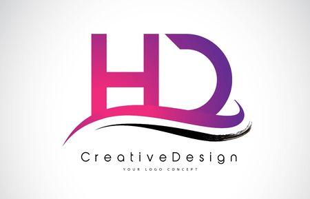 HD H D Letter Logo Design in Black Colors. Creative Modern Letters Vector Icon Logo Illustration. Logó
