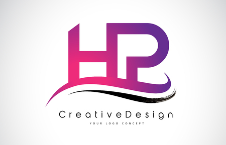 HP H P Letter Logo Design in Black Colors. Creative Modern Letters Vector Icon Logo Illustration. Illustration