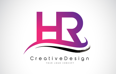 HR H R Letter Logo Design in Black Colors. Creative Modern Letters Vector Icon Logo Illustration.