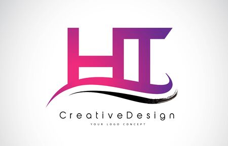 HT H T Letter Logo Design in Black Colors. Creative Modern Letters Vector Icon Logo Illustration.