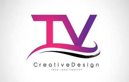 Creative Modern Letters of TV Vector Icon Logo Illustration. Illustration