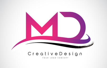 Creative Modern Letters MD Vector Icon Logo Illustration.