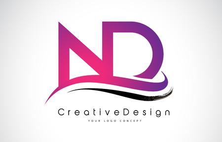 Creative Modern Letters ND Vector Icon Logo Illustration. Logó