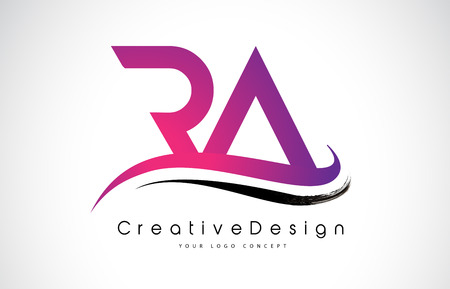Creative Modern Letters RA Vector Icon Logo Illustration.