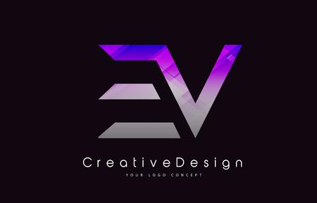 EV Letter Logo Design in Purple Texture Colors. Creative Modern Letters Vector Icon Logo Illustration.