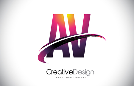 AV Purple Letter icon with Swoosh Design. Creative Magenta Modern Letters Vector icon Illustration. Stock Vector - 100913917