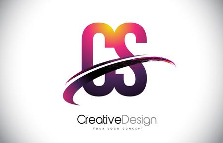 CS Purple Letter icon with Swoosh Design. Creative Magenta Modern Letters Vector icon Illustration. Vektoros illusztráció