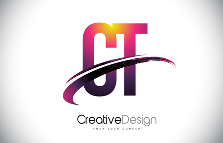 CT Purple Letter icon with Swoosh Design. Creative Magenta Modern Letters Vector icon Illustration.