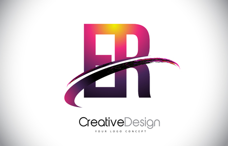 ER Purple Letter icon with Swoosh Design. Creative Magenta Modern Letters Vector icon Illustration.