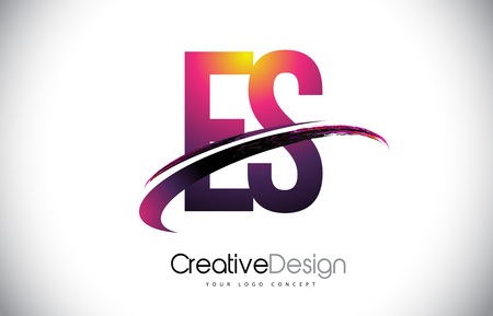 ES Purple Letter icon with Swoosh Design. Creative Magenta Modern Letters Vector icon Illustration.
