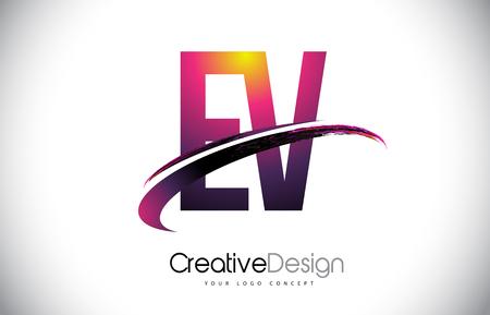 EV Purple Letter icon with Swoosh Design. Creative Magenta Modern Letters Vector icon Illustration.
