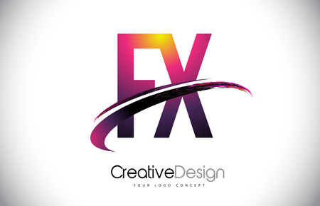 FX Purple Letter icon with Swoosh Design. Creative Magenta Modern Letters Vector icon Illustration.