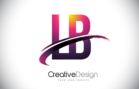 LB Purple Letter icon with Swoosh Design. Creative Magenta Modern Letters Vector icon Illustration. Ilustração
