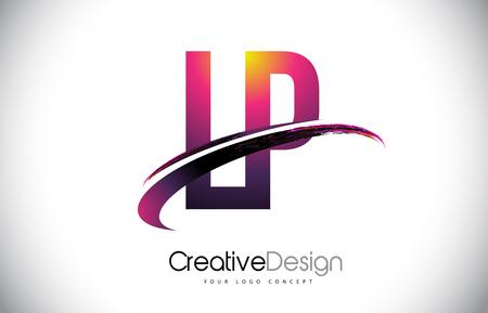 LP L P Purple Letter Logo with Swoosh Design.