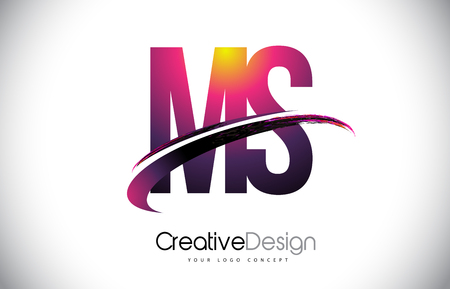 MS M S Purple Letter Logo with Swoosh Design. Creative Magenta Modern Letters Vector Logo Illustration. Ilustração