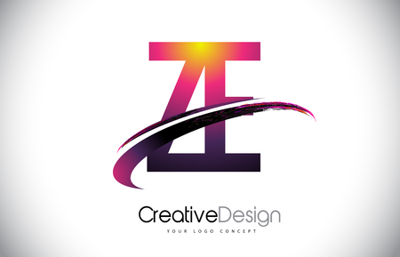 ZE Z E Purple Letter Logo with Swoosh Design. Creative Magenta Modern Letters Vector Logo Illustration.