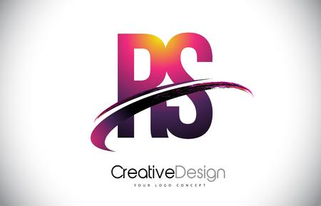 RS R S Purple Letter Logo with Swoosh Design. Creative Magenta Modern Letters Vector Logo Illustration.