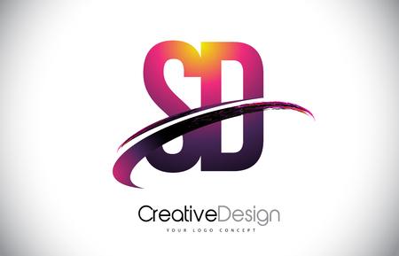 SD Purple Letter icon with Swoosh Design. Creative Magenta Modern Letters Vector icon Illustration.