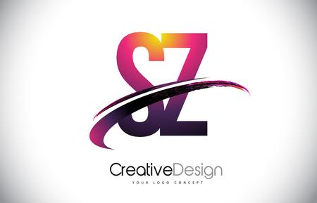 SZ S Z Purple Letter Logo with Swoosh Design. Creative Magenta Modern Letters Vector Logo Illustration. Logó