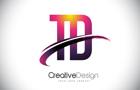 TD T D Purple Letter Logo with Swoosh Design. Creative Magenta Modern Letters Vector Logo Illustration. Stock Illustratie