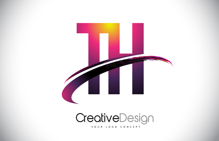 TH Purple Letter Logo with Swoosh Design. Creative Magenta Modern Letters Vector icon Illustration.