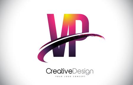 VP Purple Letter icon with Swoosh Design. Creative Magenta Modern Letters Vector icon Illustration.