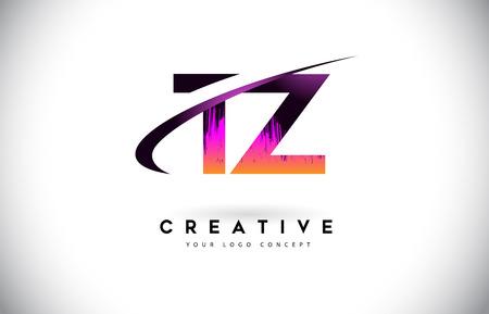 TZ T Z Grunge Letter Logo with Purple Vibrant Colors Design. Creative grunge vintage Letters Vector Logo Illustration.