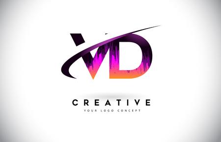 VD V D Grunge Letter Logo with Purple Vibrant Colors Design. Creative grunge vintage Letters Vector Logo Illustration. Logó