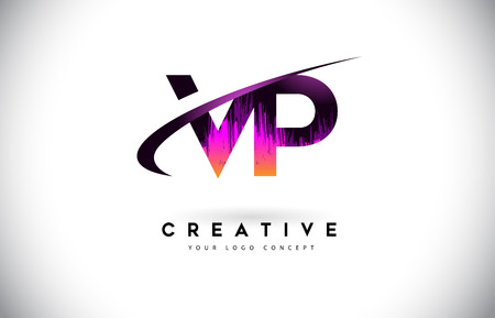 VP V P Grunge Letter Logo with Purple Vibrant Colors Design. Creative grunge vintage Letters Vector Logo Illustration.