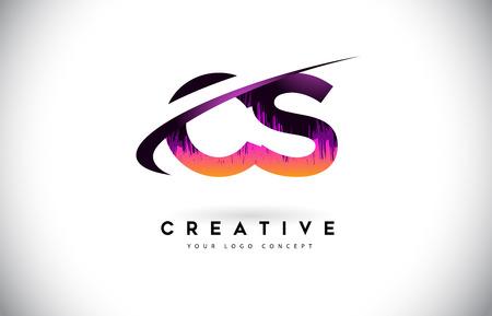 CS C S Grunge Letter Logo with Purple Vibrant Colors Design. Creative grunge vintage Letters Vector Logo Illustration. Ilustração