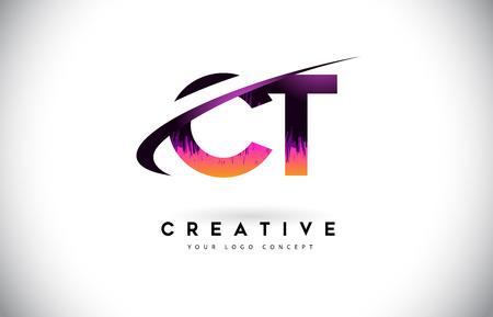 CT C T Grunge Letter Logo with Purple Vibrant Colors Design. Creative grunge vintage Letters Vector Logo Illustration.