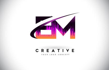 EM E M Grunge Letter Logo with Purple Vibrant Colors Design. Creative grunge vintage Letters Vector Logo Illustration. Illustration