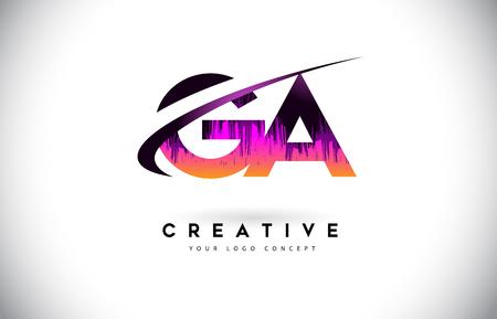 GA G A Grunge Letter Logo with Purple Vibrant Colors Design. Creative grunge vintage Letters Vector Logo Illustration.