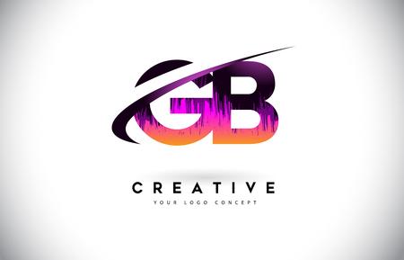 GB G B Grunge Letter Logo with Purple Vibrant Colors Design. Creative grunge vintage Letters Vector Logo Illustration.
