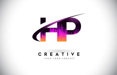 H P Grunge Letter Logo with Purple Vibrant Colors Design. Creative grunge vintage Letters Vector Logo Illustration.