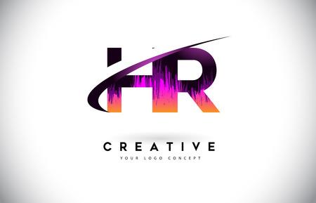 HR H R Grunge Letter Logo with Purple Vibrant Colors Design. Creative grunge vintage Letters Vector Logo Illustration.