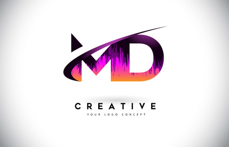 MD M D Grunge Letter Logo with Purple Vibrant Colors Design. Creative grunge vintage Letters Vector Logo Illustration.
