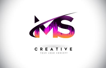 MS M S Grunge Letter Logo with Purple Vibrant Colors Design. Creative grunge vintage Letters Vector Logo Illustration.