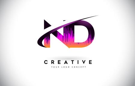 ND N D Grunge Letter Logo with Purple Vibrant Colors Design. Creative grunge vintage Letters Vector Logo Illustration.