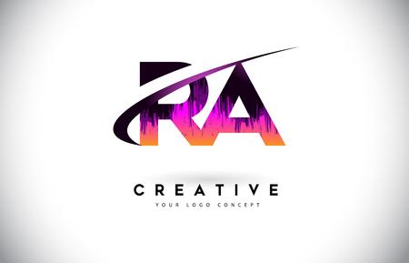 RA RA Grunge list Logo z fioletowym żywym kolorze projektowania. Creative grunge vintage listów wektor Logo ilustracja. Logo